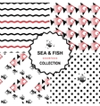 Sea and fish pattern set vector image