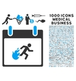 Fire Evacuation Man Calendar Day Icon With 1000 vector image