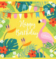 happy birthday greeting card invitation with hand vector image vector image