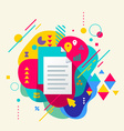 Document file on abstract colorful spotted vector image