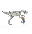 Compare man with a skeleton of a dinosaur vector image