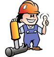 Hand-drawn of an Happy Mechanic or Handyman vector image