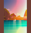 sea landscape beautiful asian beach with mountain vector image
