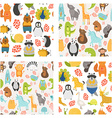seamless patterns with cute animals vector image