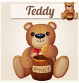 Teddy bear and the barrel of honey Cartoon vector image
