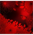 Deep red background with stylized flowers and vector image
