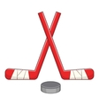 Sticks and puck icon cartoon style vector image