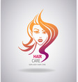 girls portrait with long hair vector image vector image