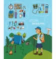 Cartoon hiker with hiking infographic elements vector image