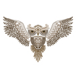 Tattoo owl with spread wings vector image