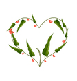 Branch of Pistachio Nuts Forming in Heart Shape vector image