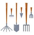 agriculture farming tools garden equipment flat vector image