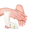 Beautiful young female hands with a cream and vector image