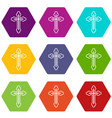 crucifix icon set color hexahedron vector image