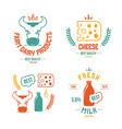 Farm dairy products emblems and icons vector image