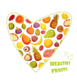 Fruits Heart Shape Retro Style Advertisement vector image