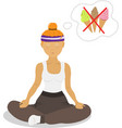 image girl sitting in lotus pose vector image