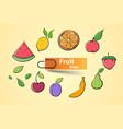set color fruit icon vector image