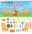 Summer Picnic and Icons of Foods vector image