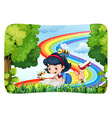 Girl reading in nature with rainbow vector image vector image