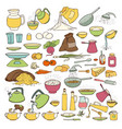 colourful sketch collection set of food vector image