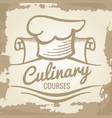 culinary courses grunge emblem or logo design vector image
