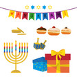 jewish holiday of hanukkah symbols set vector image
