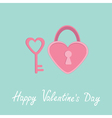Padlock and key in shape of heart Valentines day vector image