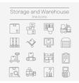 Storage line icons vector image