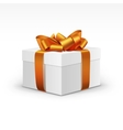White Gift Box with Orange Ribbon Isolated vector image