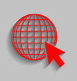 earth globe with cursor  red icon with vector image
