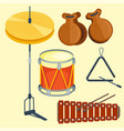 musical drum wood rhythm music instrument series vector image