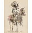 Indian chief sitting on a horse vector image