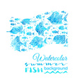 watercolor summer fish background vector image