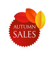 autumn sales - brown round emblem vector image