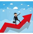businessman with breafcase standing on graph vector image
