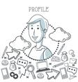 Doodle icon design profile icon draw concept vector image