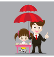 Education protect concept business man cartoon vector image