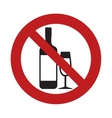 prohibited bottle glass cup drink beverage sign vector image