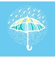 Umbrella with rain drops and sunburst vector image