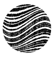 Black circle with wavy grunge stripes vector image