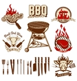 Set of design elements for bbq and grill labels vector image