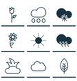 set of 9 landscape icons includes cloud sunshine vector image