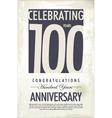 100 years anniversary retro background vector image
