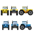 Yellow and blue tractors with big wheels vector image vector image