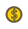 coin dollar money flat icon vector image
