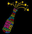 Happy New Year champagne bottle word cloud vector image