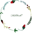 round wreath with watercolor red flowers vector image
