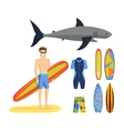Surfing set vector image