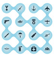 set of simple military icons vector image